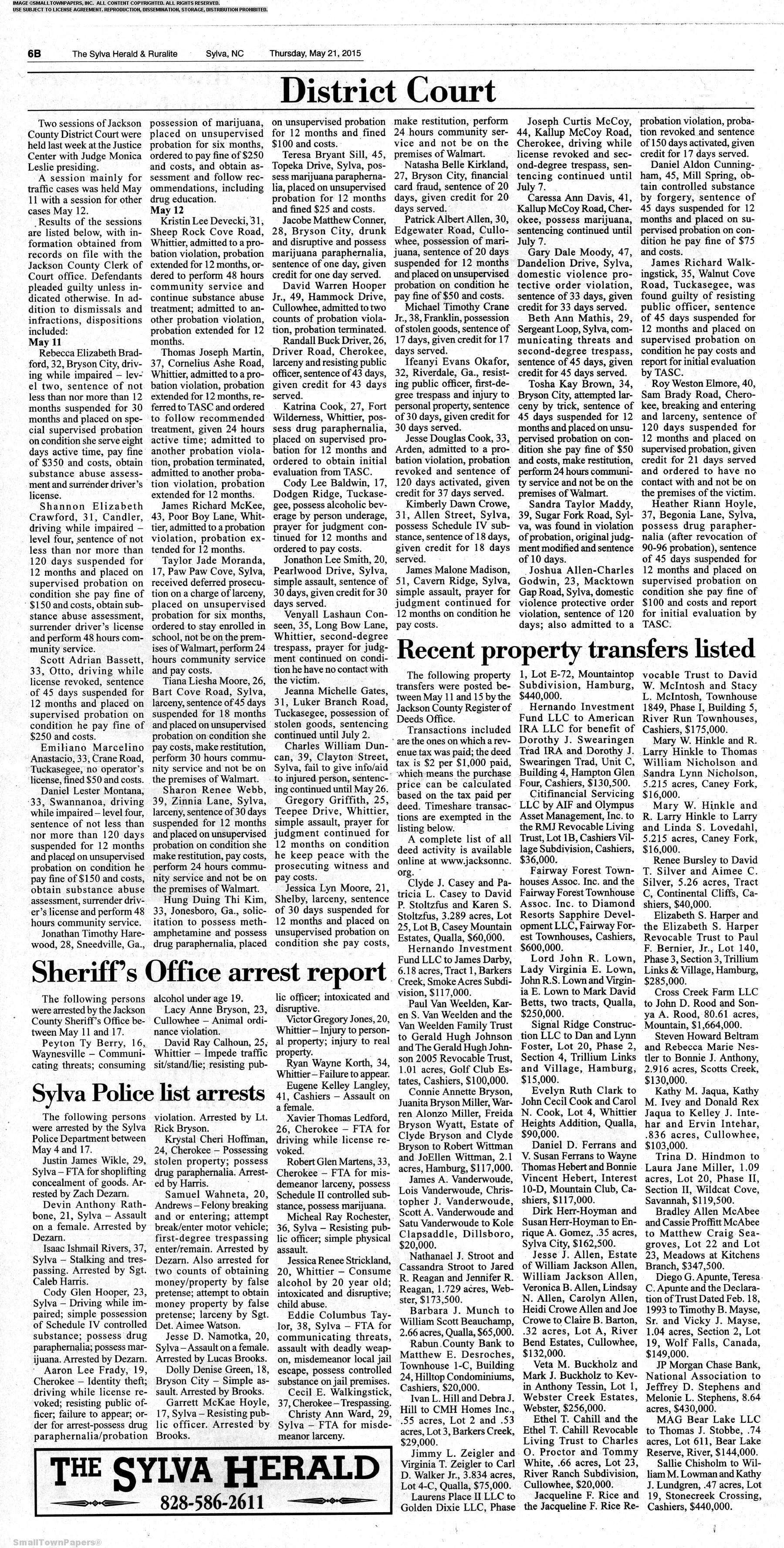 The Sylva Herald and Rualite May 21, 2015: Page 14